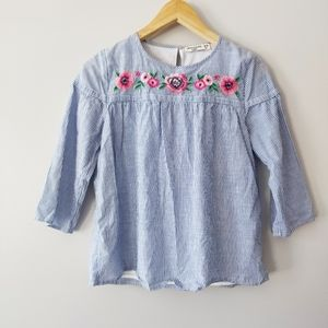 Abercrombie & Fitch floral embroidered stripe top